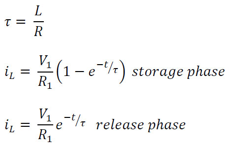 The time constant, current in storage phase, and current in release phase of an RL circuit.