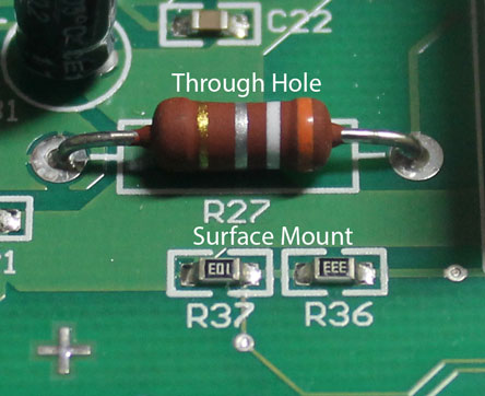 This picture shows a through hole resistor taking up much more space on the board than a couple of surface mount resistors.
