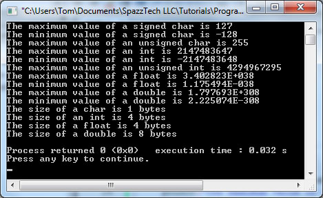 This demo program demonstrates the size of different variable types in a C program.